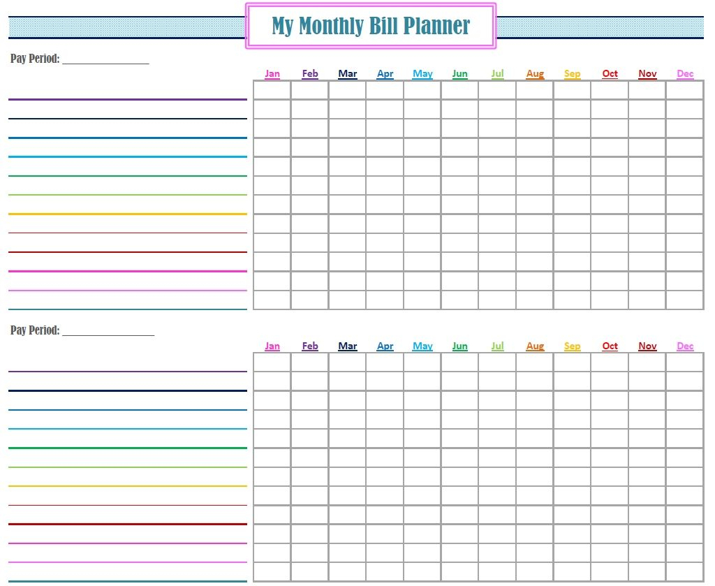 Free Printable Monthly Budget Planner Te Bill Spreadsheet regarding Monthly Bill Organizer Template Excel