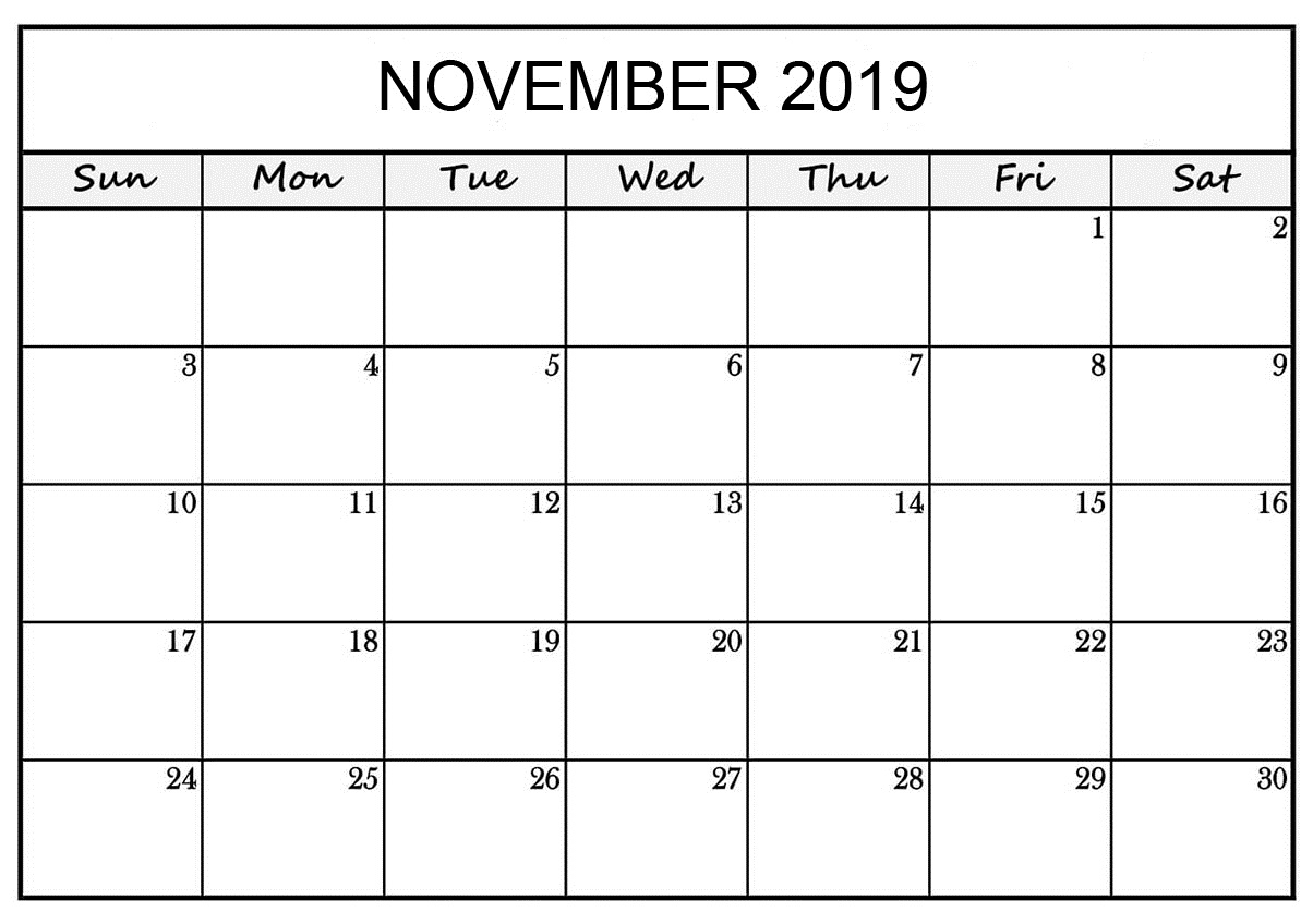 Free Printable November 2019 Calendar Planner Templates inside Free Monthly Calendars That Can Be Edited