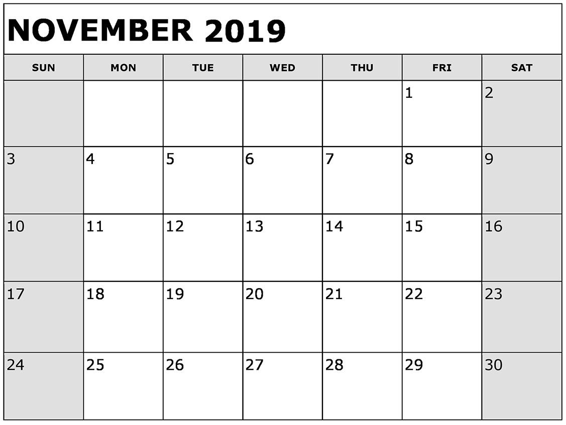 Free Printable November 2019 Calendar Planner Templates with regard to Empty Printable Calendar