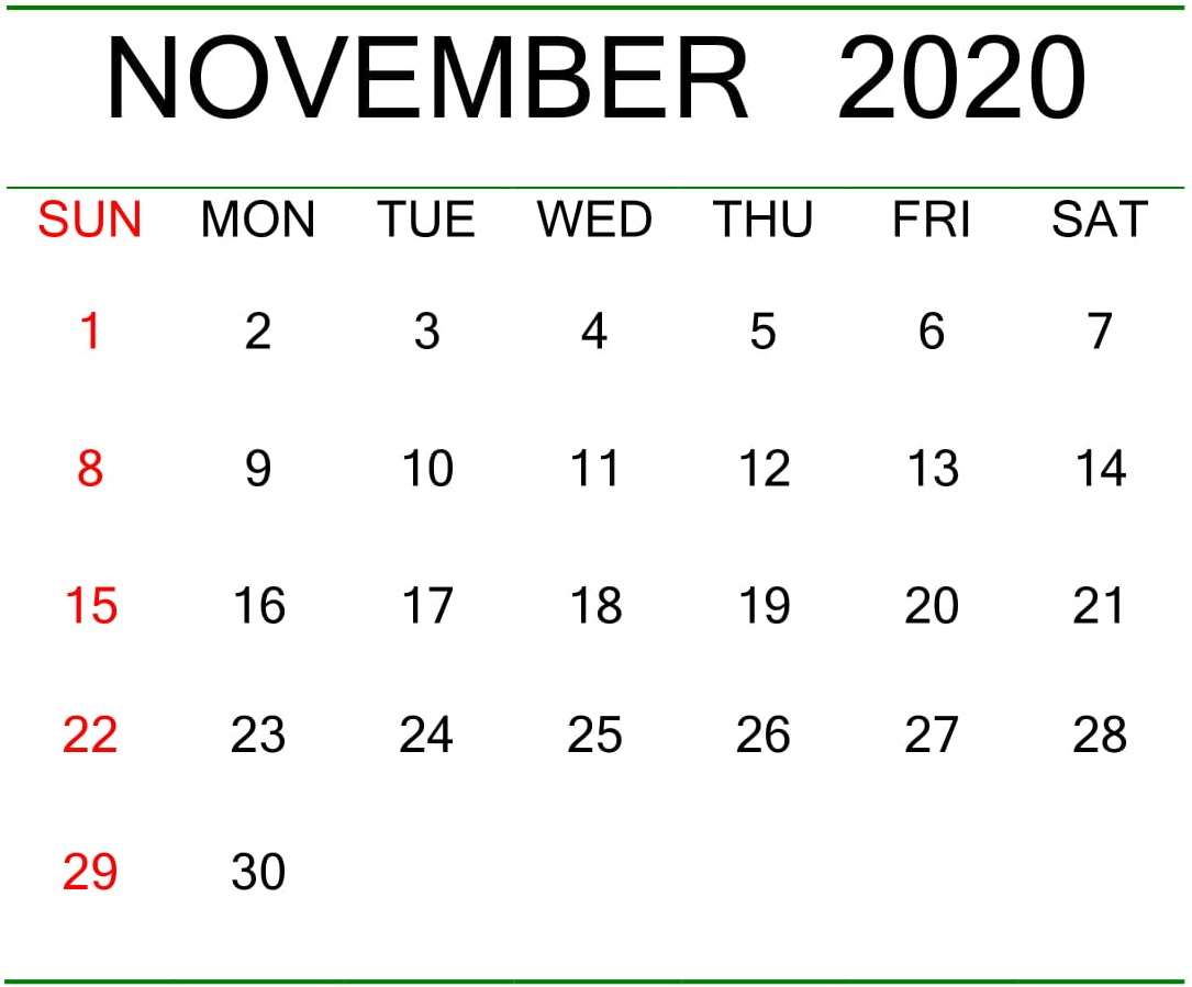 Free Printable November 2020 Excel Calendar – Free Latest with regard to 2020 Excel Calendar Free