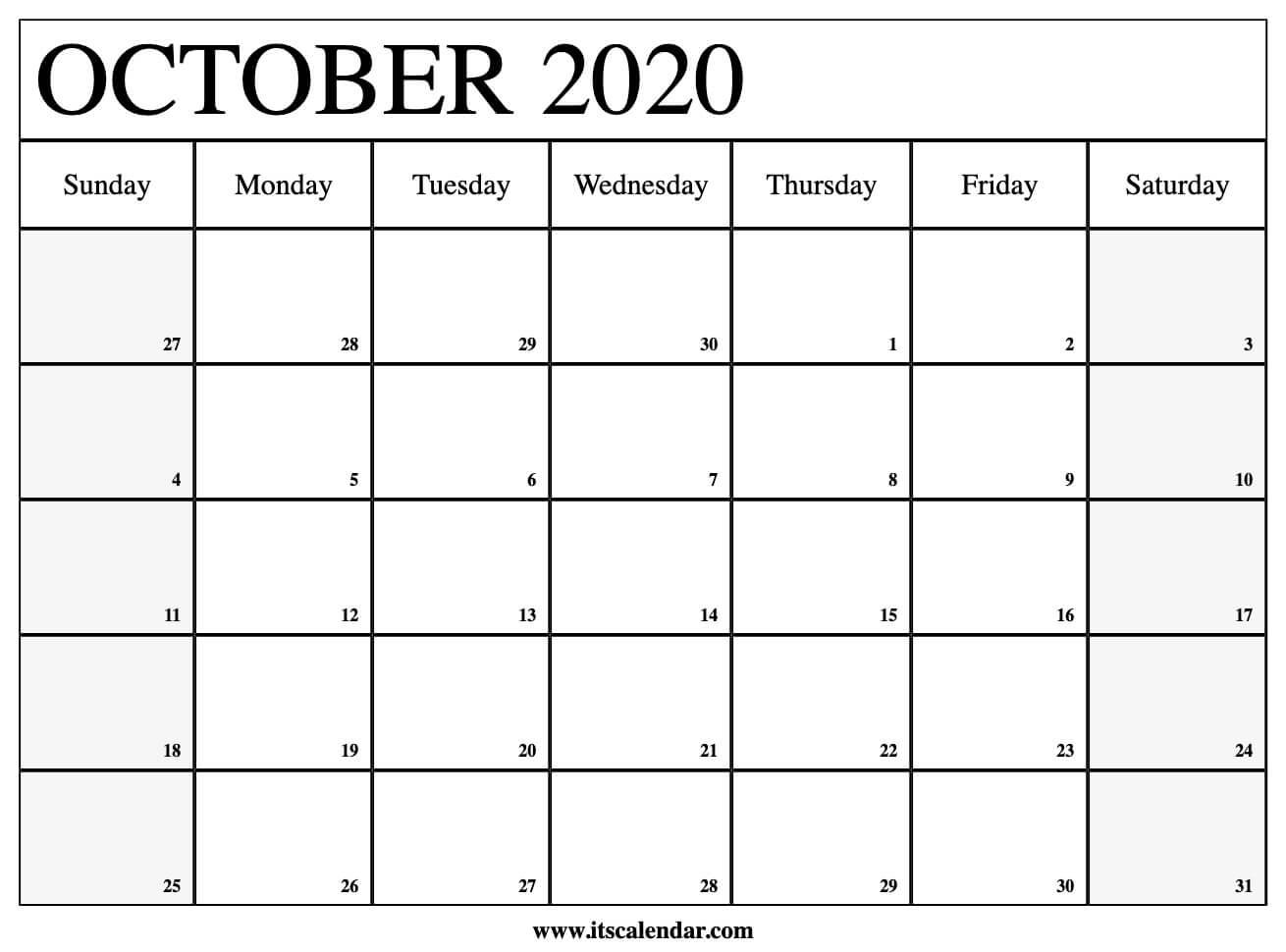 Free Printable October 2020 Calendar regarding Printable Calendar Date Range