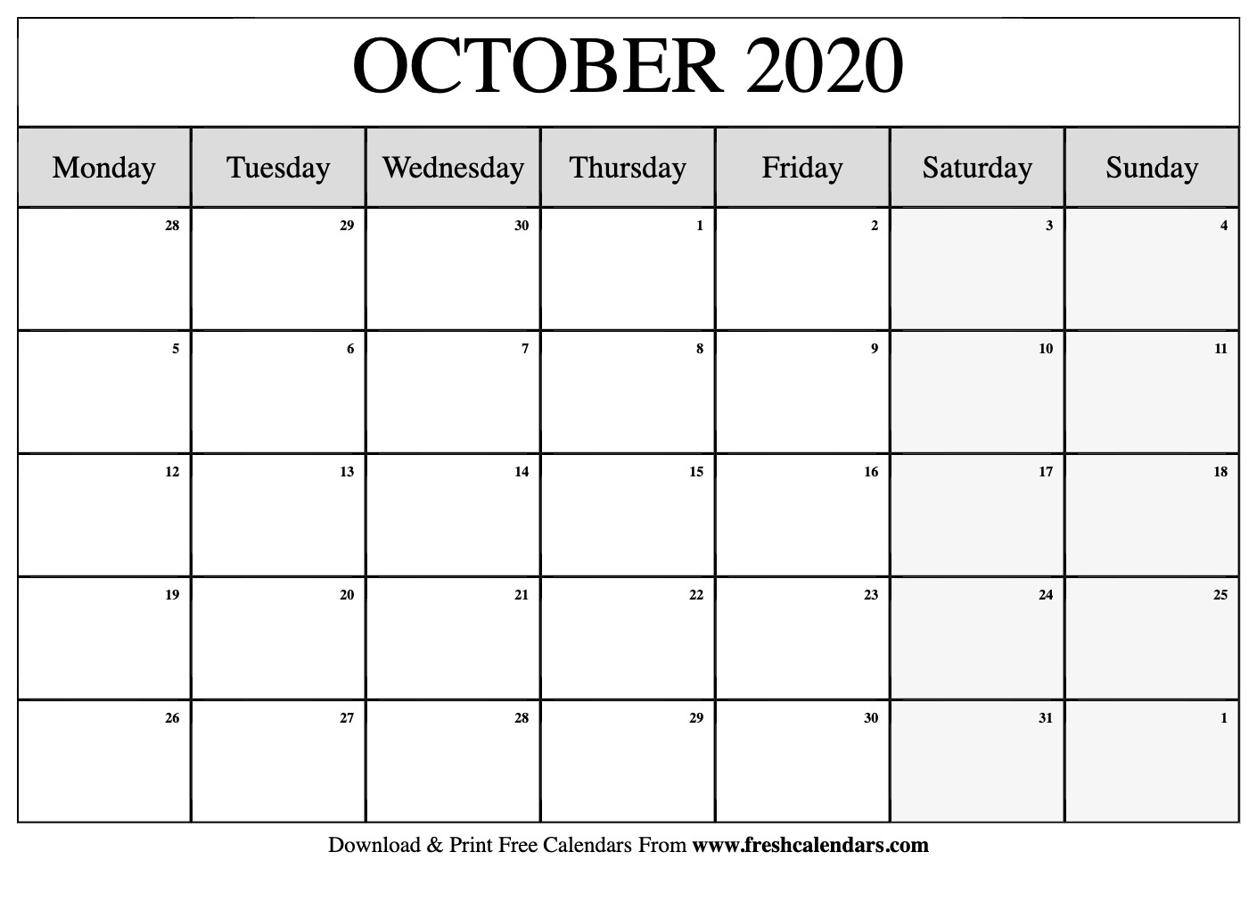Free Printable October 2020 Calendar throughout 2020 Calendar Template Monday Start