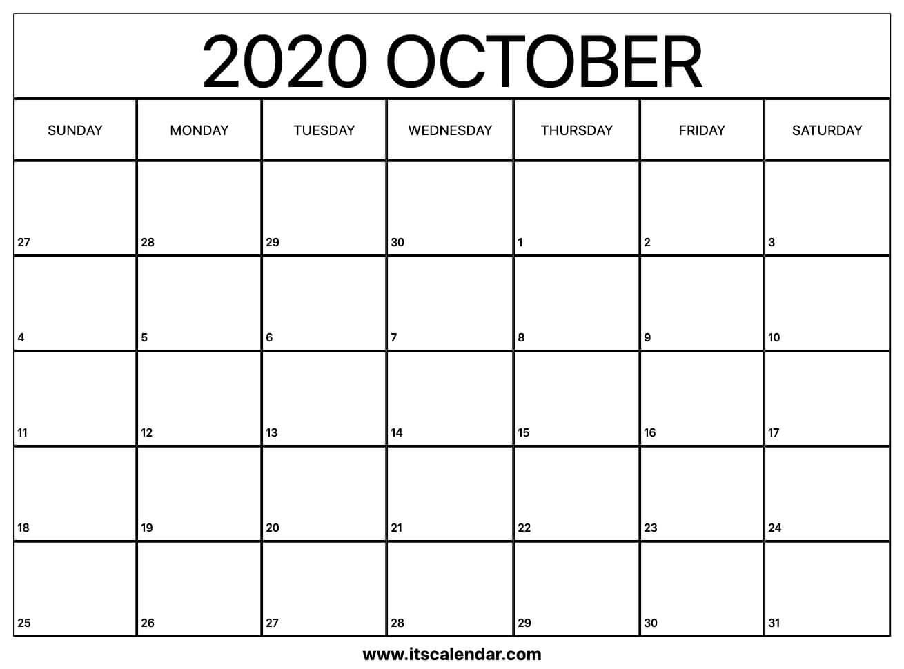 Free Printable October 2020 Calendar within Printable Calendar Date Range