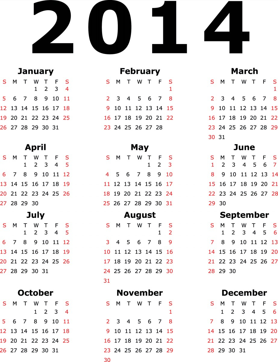 Free Printable Quarterly Calendar 2014 | Yearly Monthly Calendar for Calendar 2014 Printable