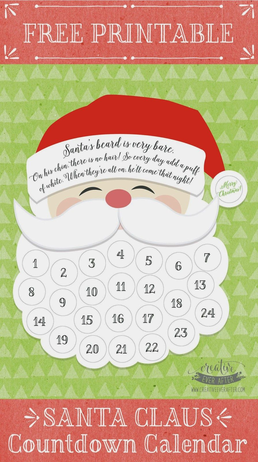 Free Printable} Santa Claus Beard Countdown Calendar with Make A Countdown Calendar Printable