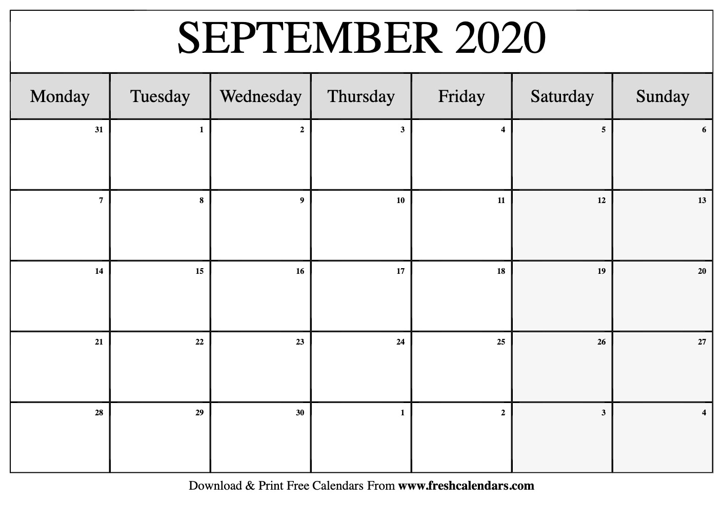 Free Printable September 2020 Calendar throughout Calendar August And September 2020