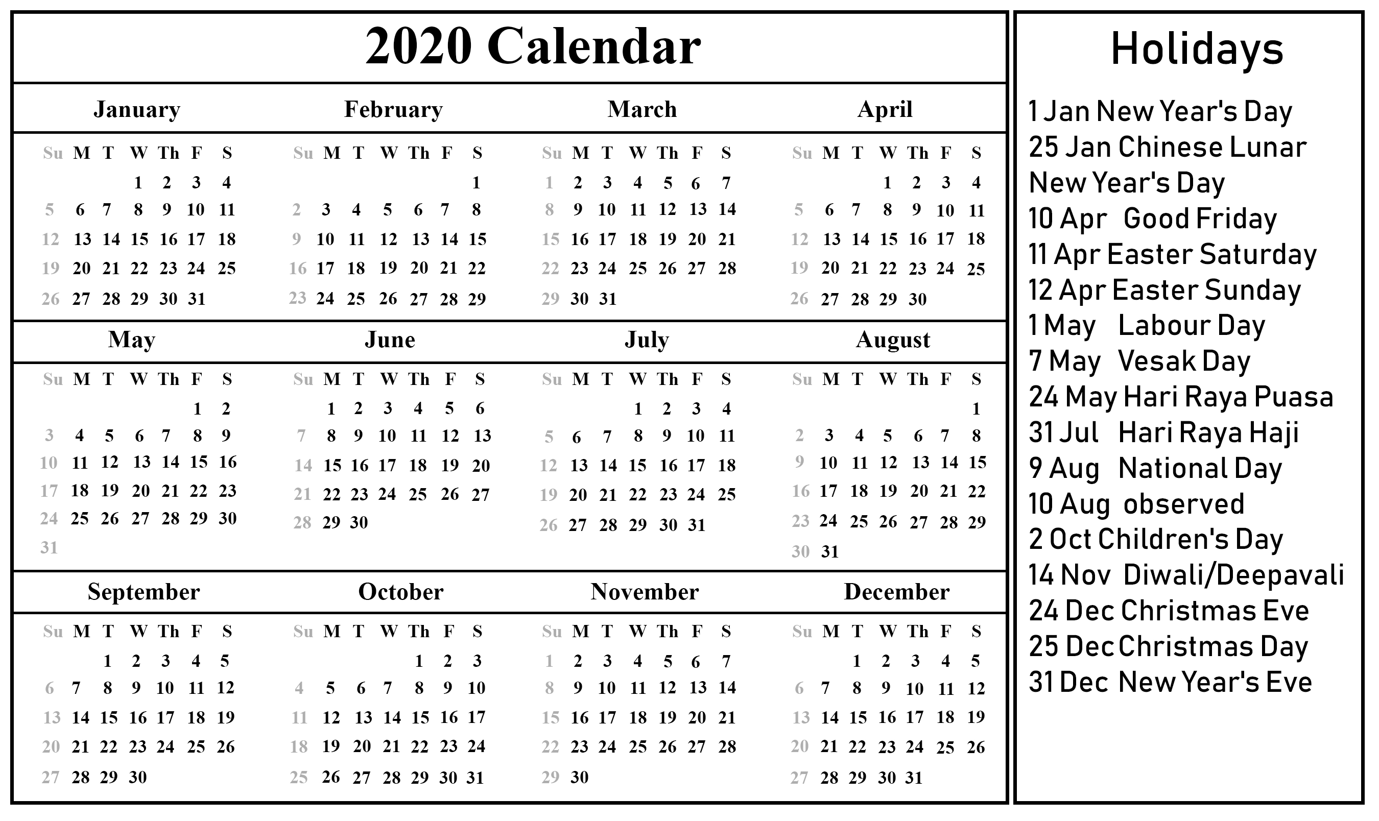 Free Printable Singapore Calendar 2020 With Holidays inside National Days June 2020