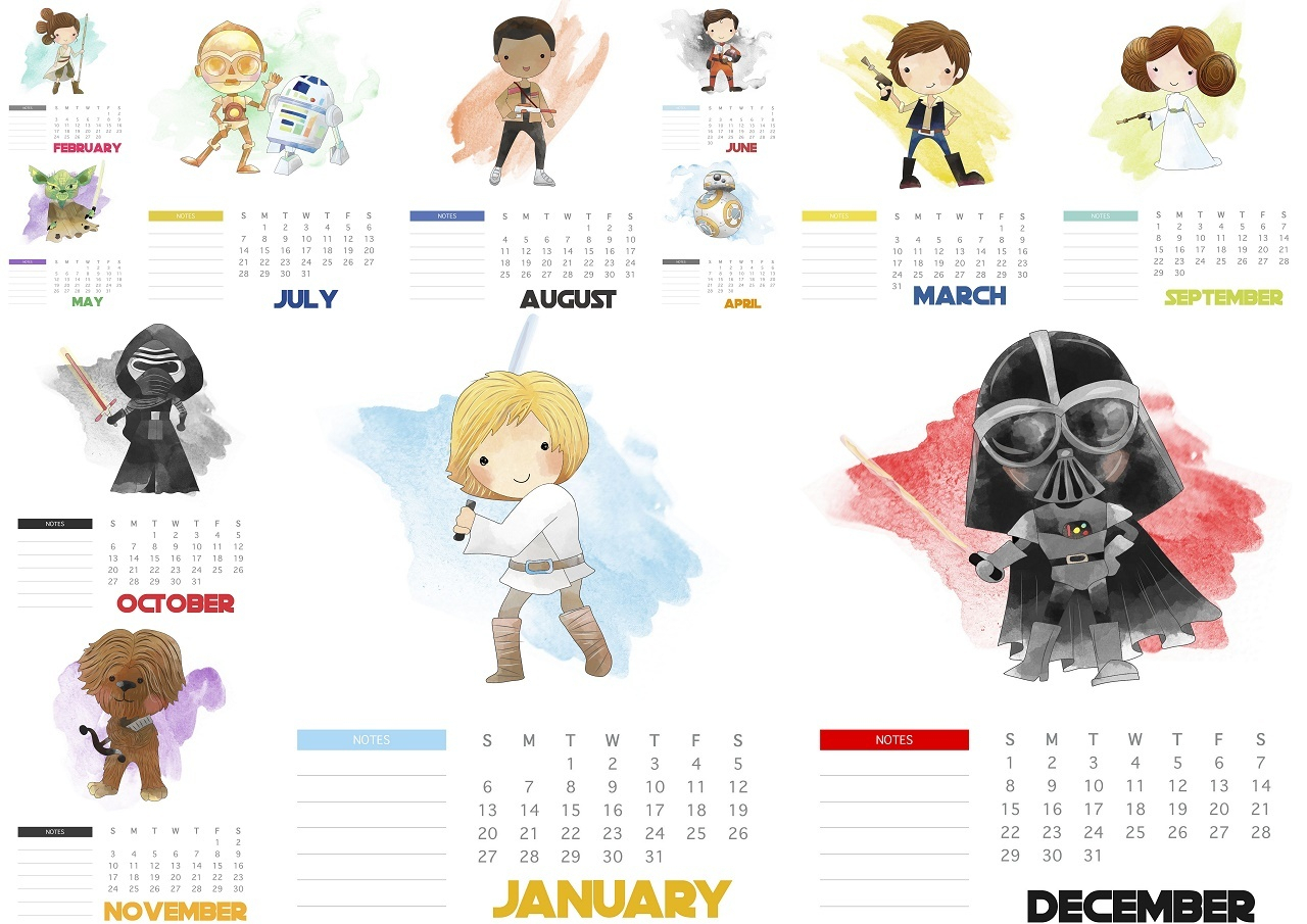 Free Printable Star Wars 2019 Calendar.  Oh My Fiesta! For throughout Star Wars Calendar Printable