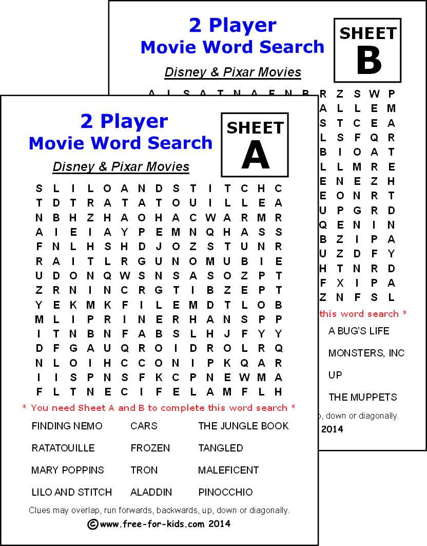 Free Printable Two Player Word Search Puzzles For Children within Free Disney Word Search