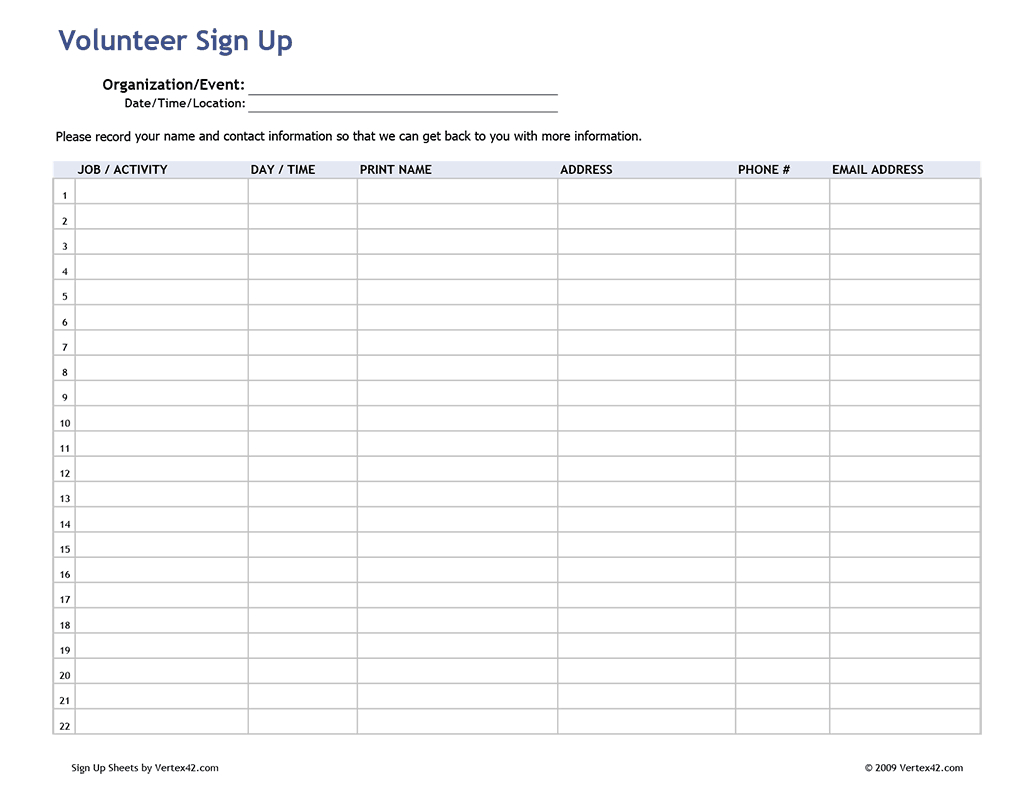 Free Printable Volunteer Sign Up Sheet (Pdf) From Vertex42 throughout Printable Children's Church Sign In Sheet Template