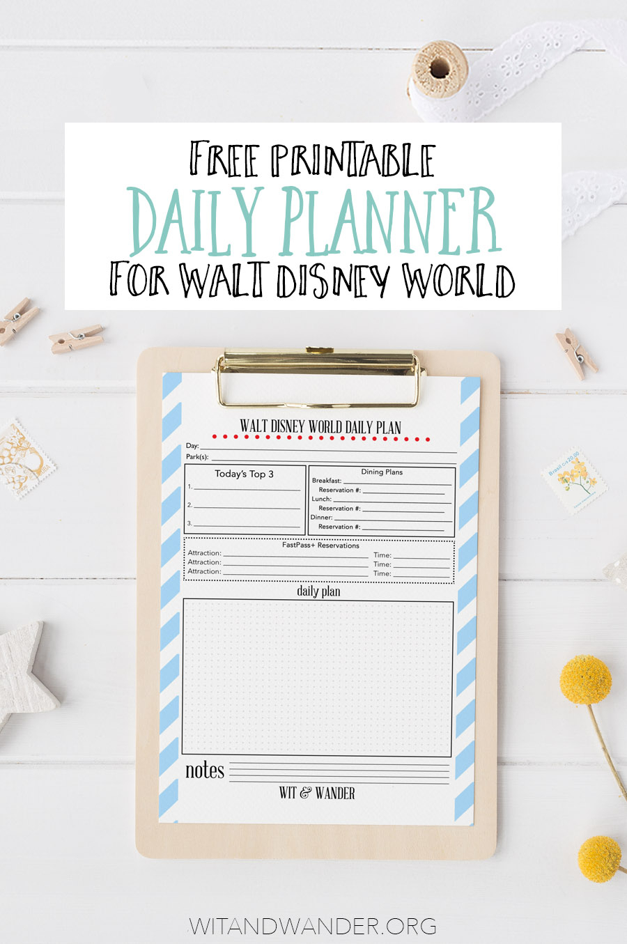 Free Printable Walt Disney World Daily Planner  Our in Disney Vacation Planner Template