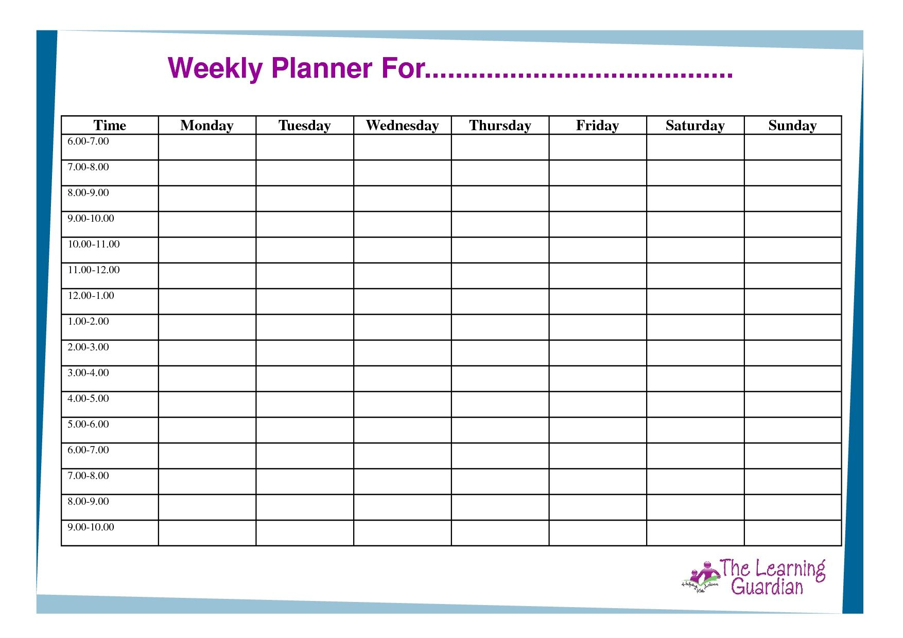 Free Printable Weekly Calendar Templates Planner For Time regarding Free Online Weekly Calendar