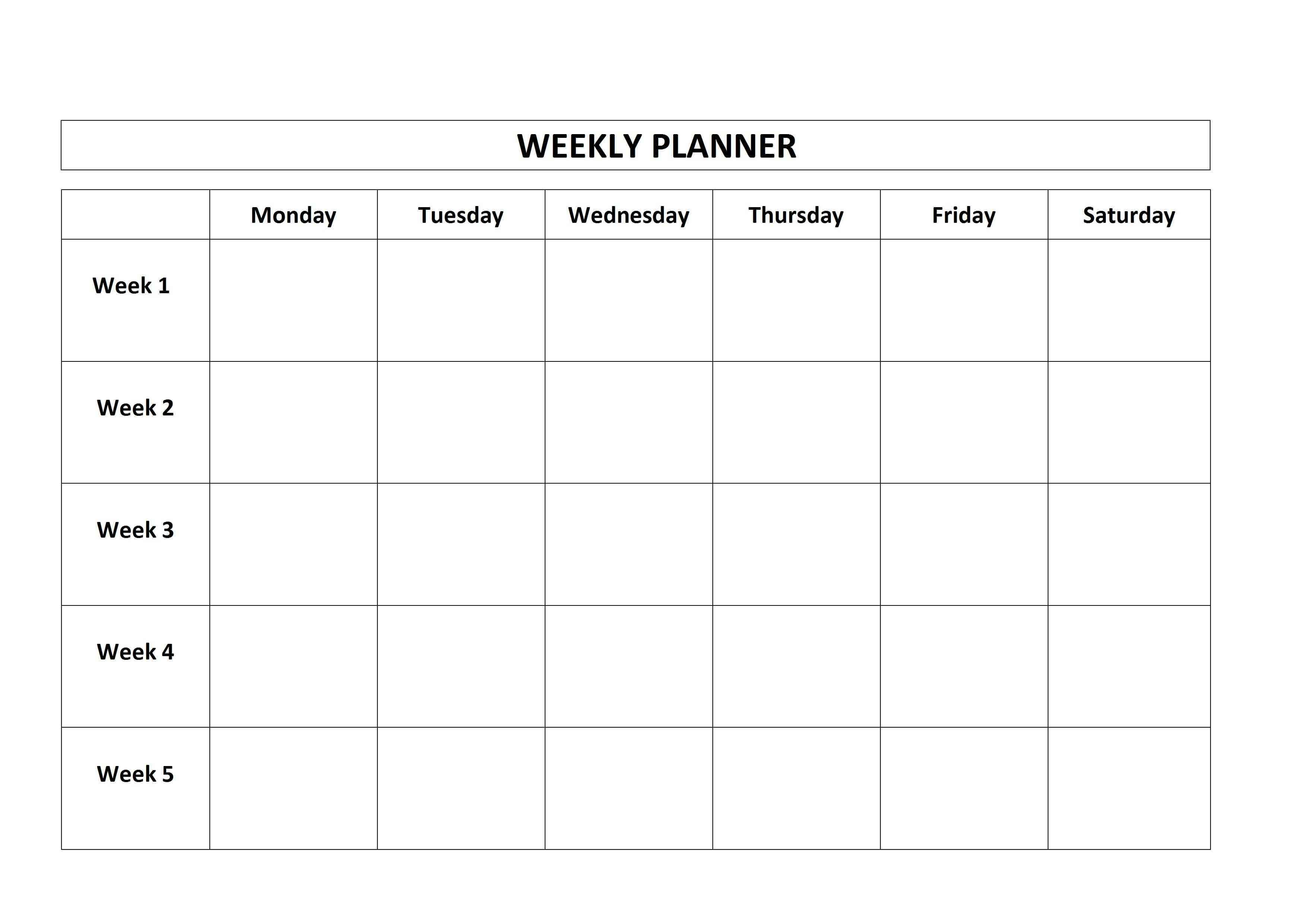 Free Printable Weekly Planner Monday Friday School Calendar for Monday Through Friday Calendar