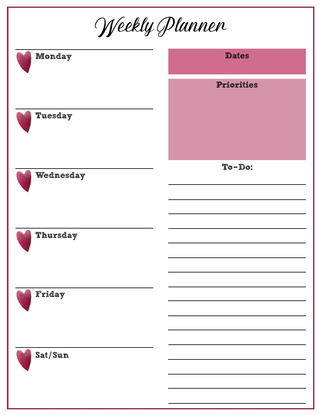 Free Printable Weekly Planners: Monday Start for Monday To Friday Planner