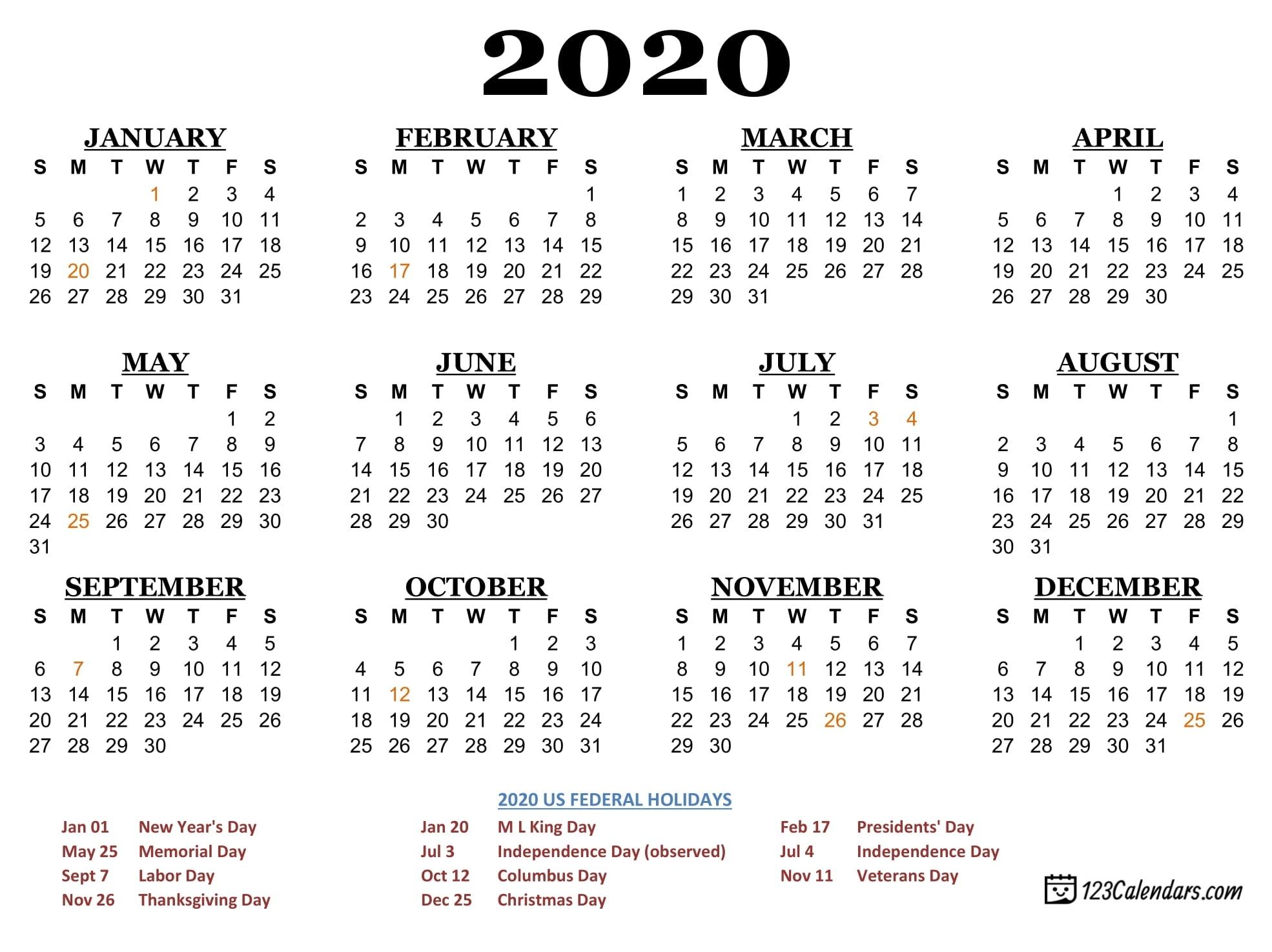 Free Printable Year 2020 Calendar | 123Calendarsmonday To throughout Printable Calendars From 123Calendars