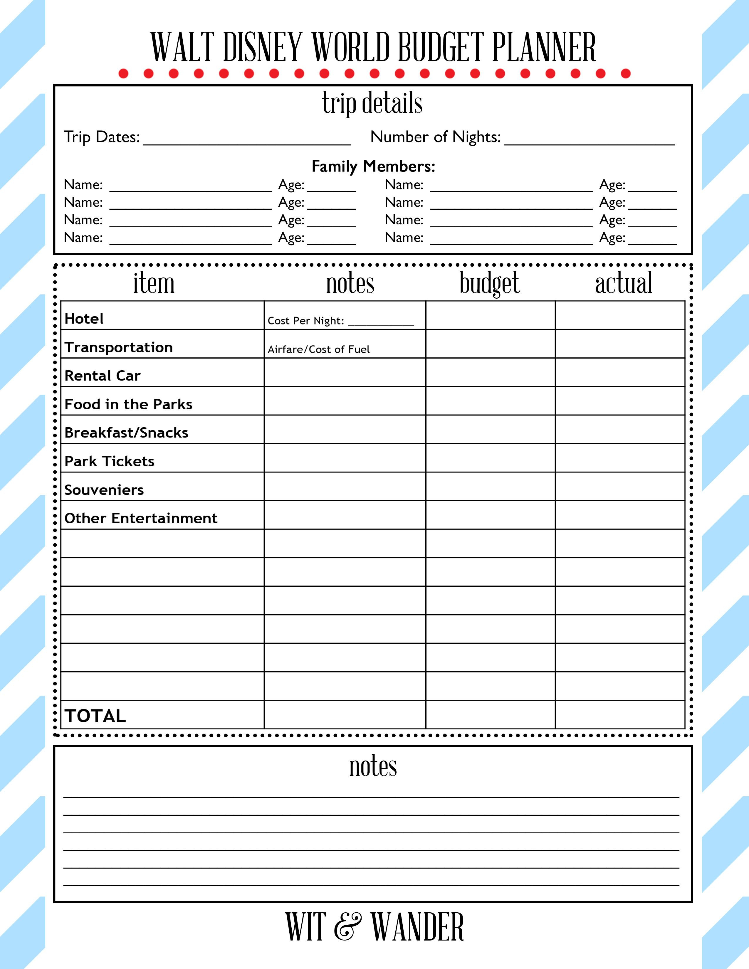 Free Printables | Disney On A Budget, Disney World Trip with Disney Vacation Planner Template