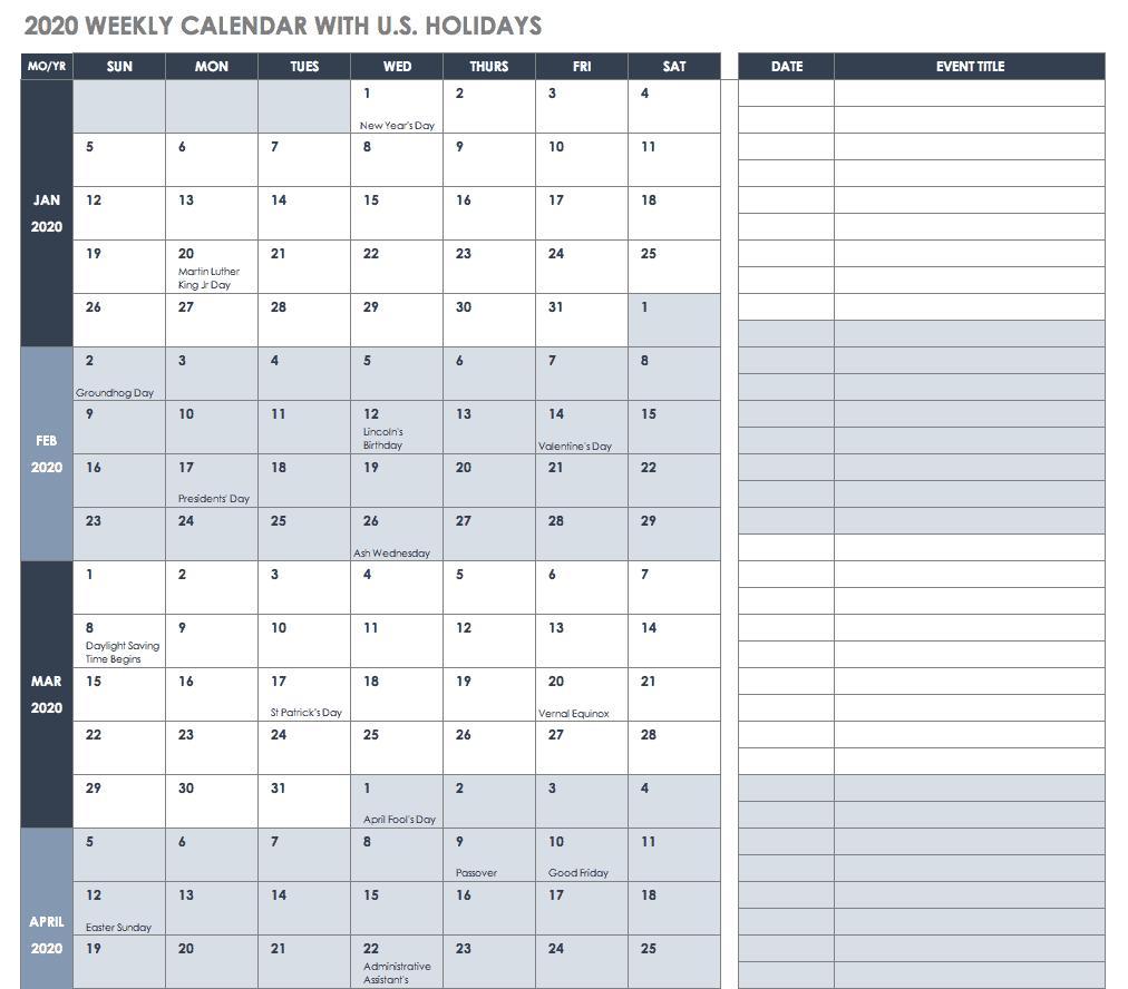 Free Quarterly Calendar 2020  Yatay.horizonconsulting.co with regard to Quarterly Calendar Template Excel