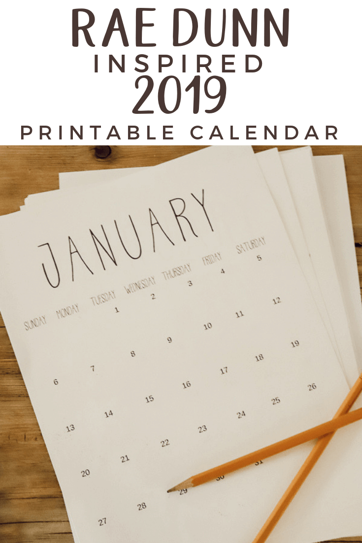 Free Rae Dunn Inspired 2020 Printable Calendar | Farmhouse with regard to Rae Dunn Printable Calendar