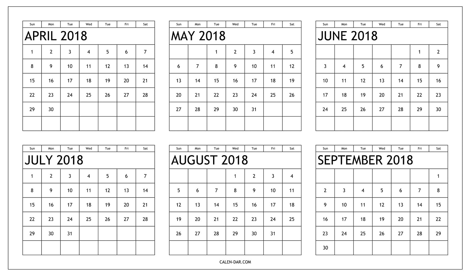 Free Six Month 2018 Calendar April To September Printable for 6 Month Calendar Template