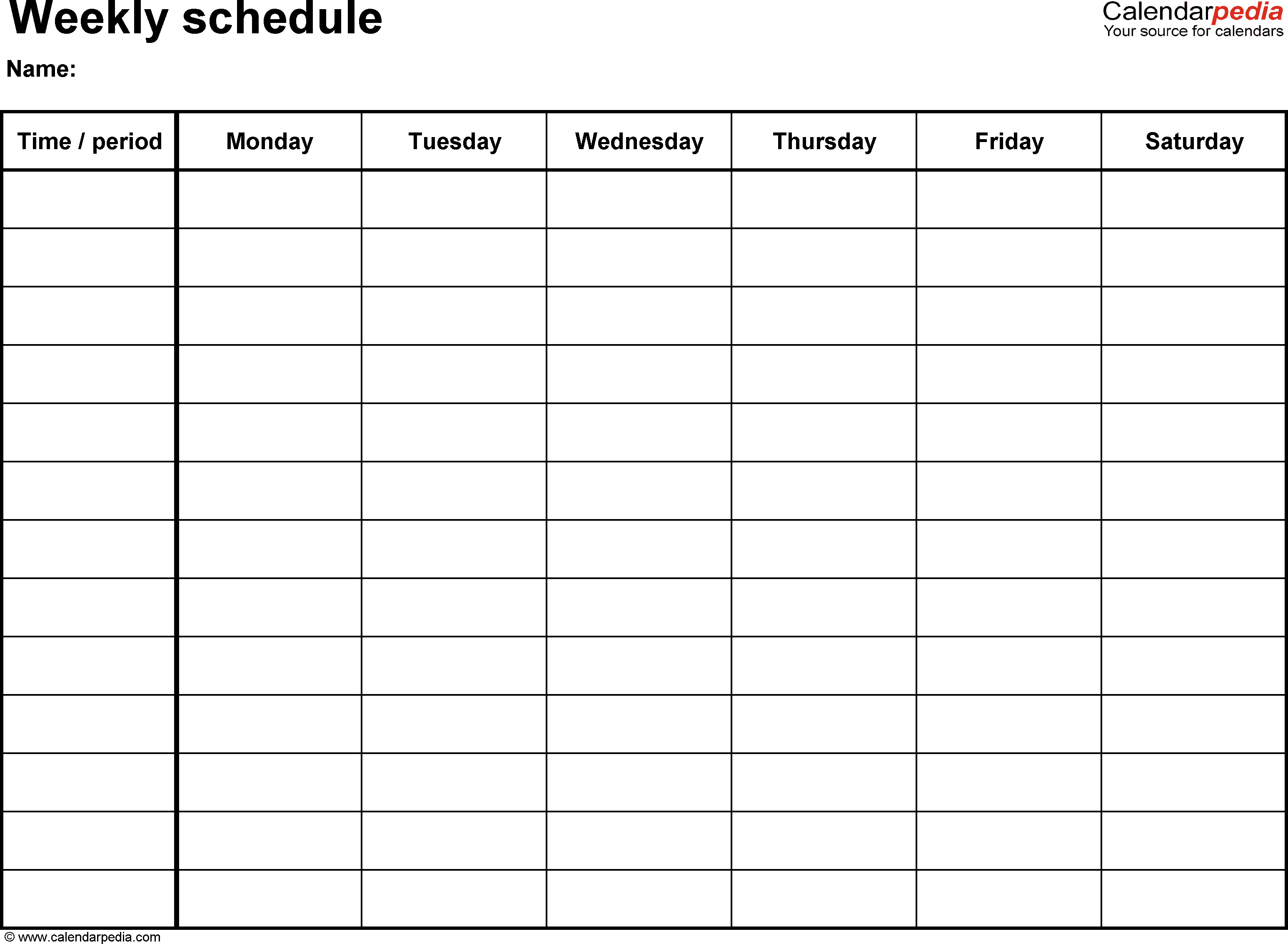 Free Weekly Schedule Templates For Pdf  18 Templates pertaining to Calendarpedia Weekly Schedule