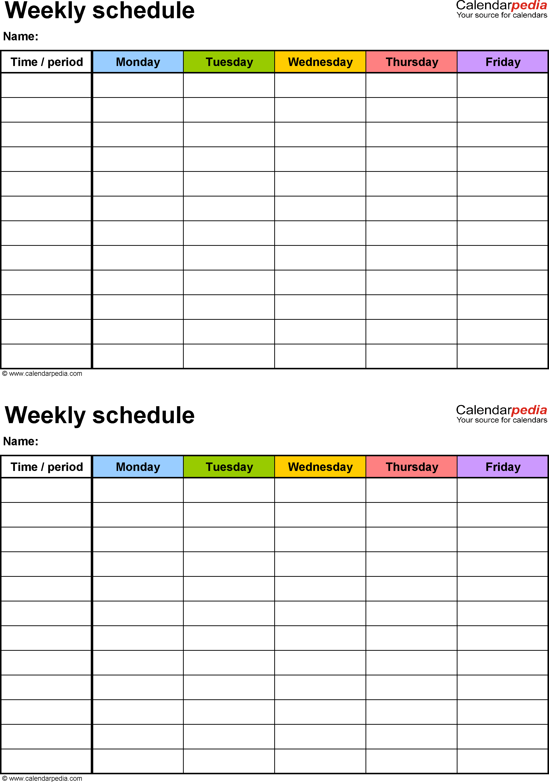 Free Weekly Schedule Templates For Word  18 Templates regarding Printable Weekly Calendar Monday Through Friday