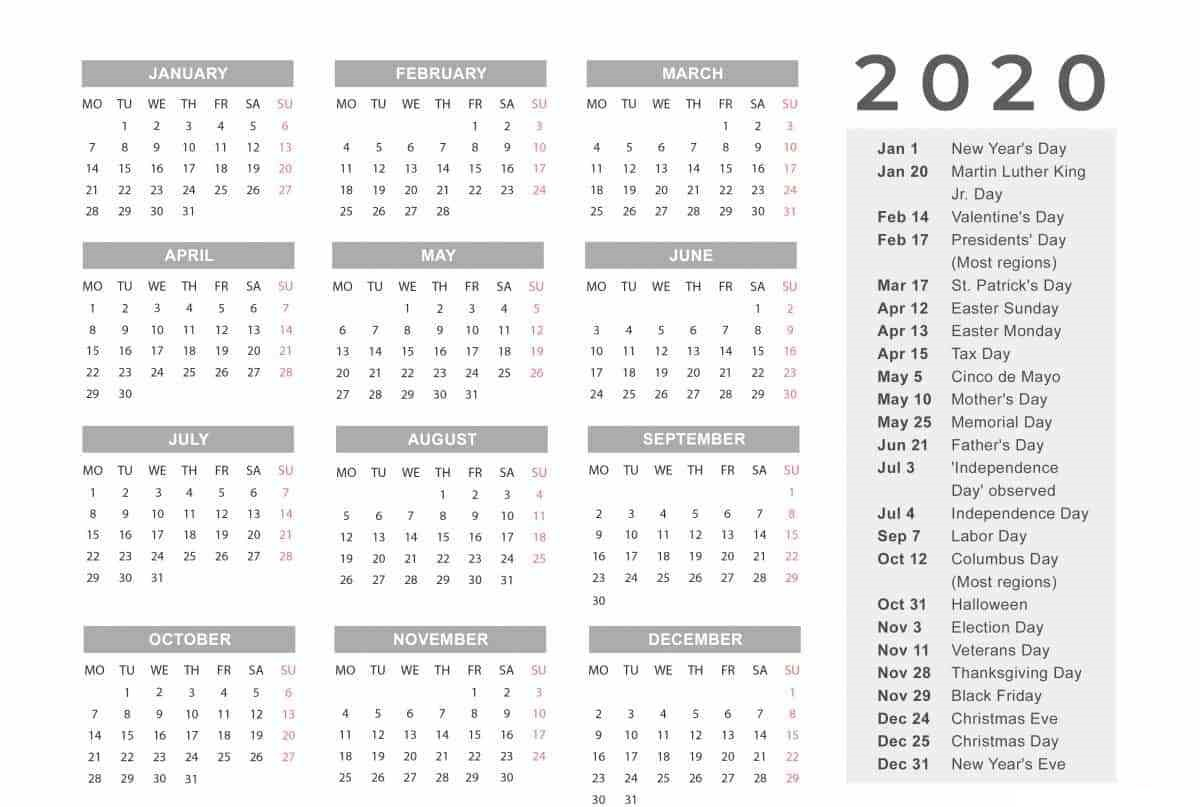 Free Yearly 12 Month Calendar One Page Template Printable for Year Long Calendar Template