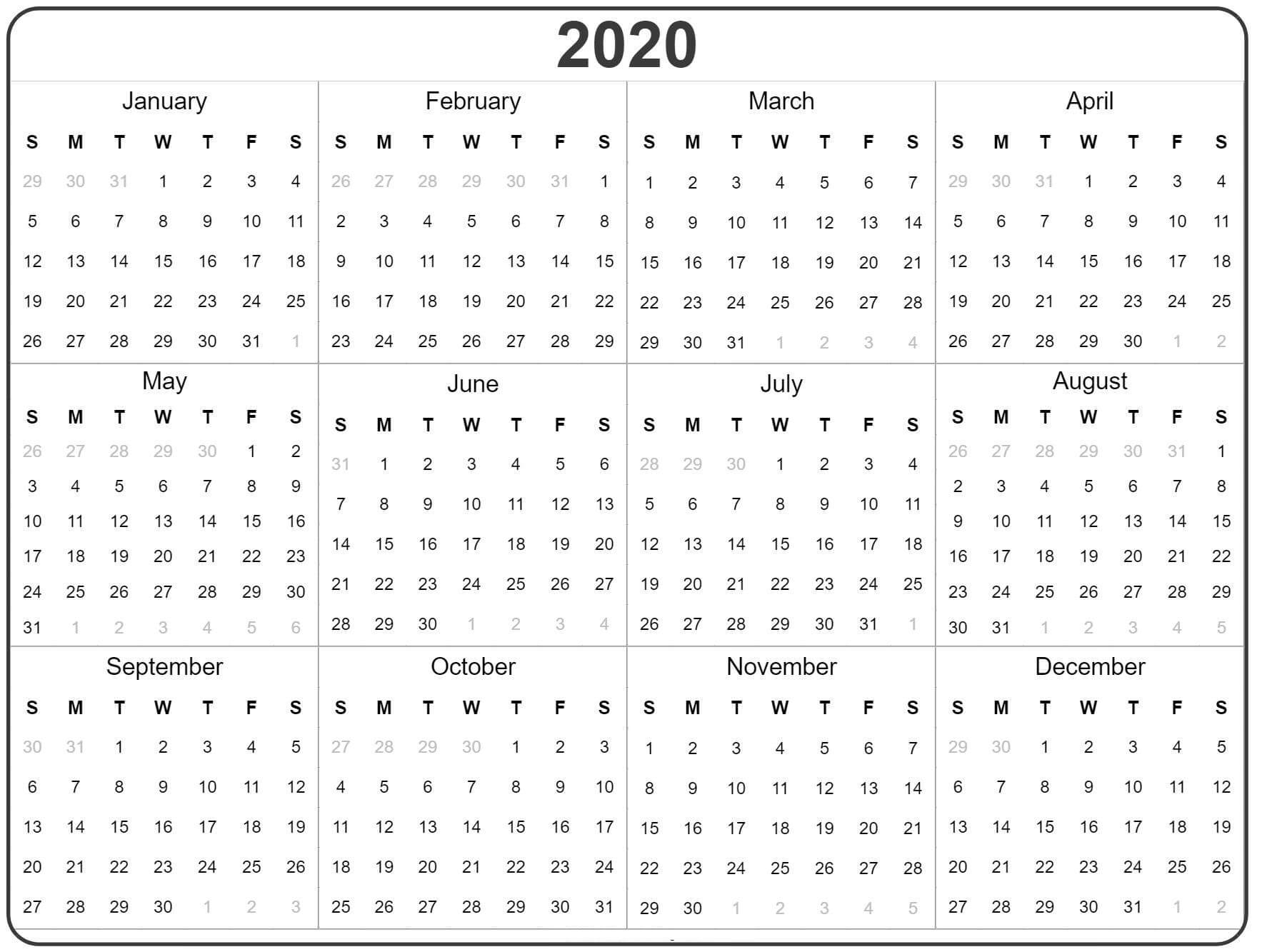 Free Yearly Calendar 2020 With Notes  2019 Calendars For with 2020 Year At A Glance Printable