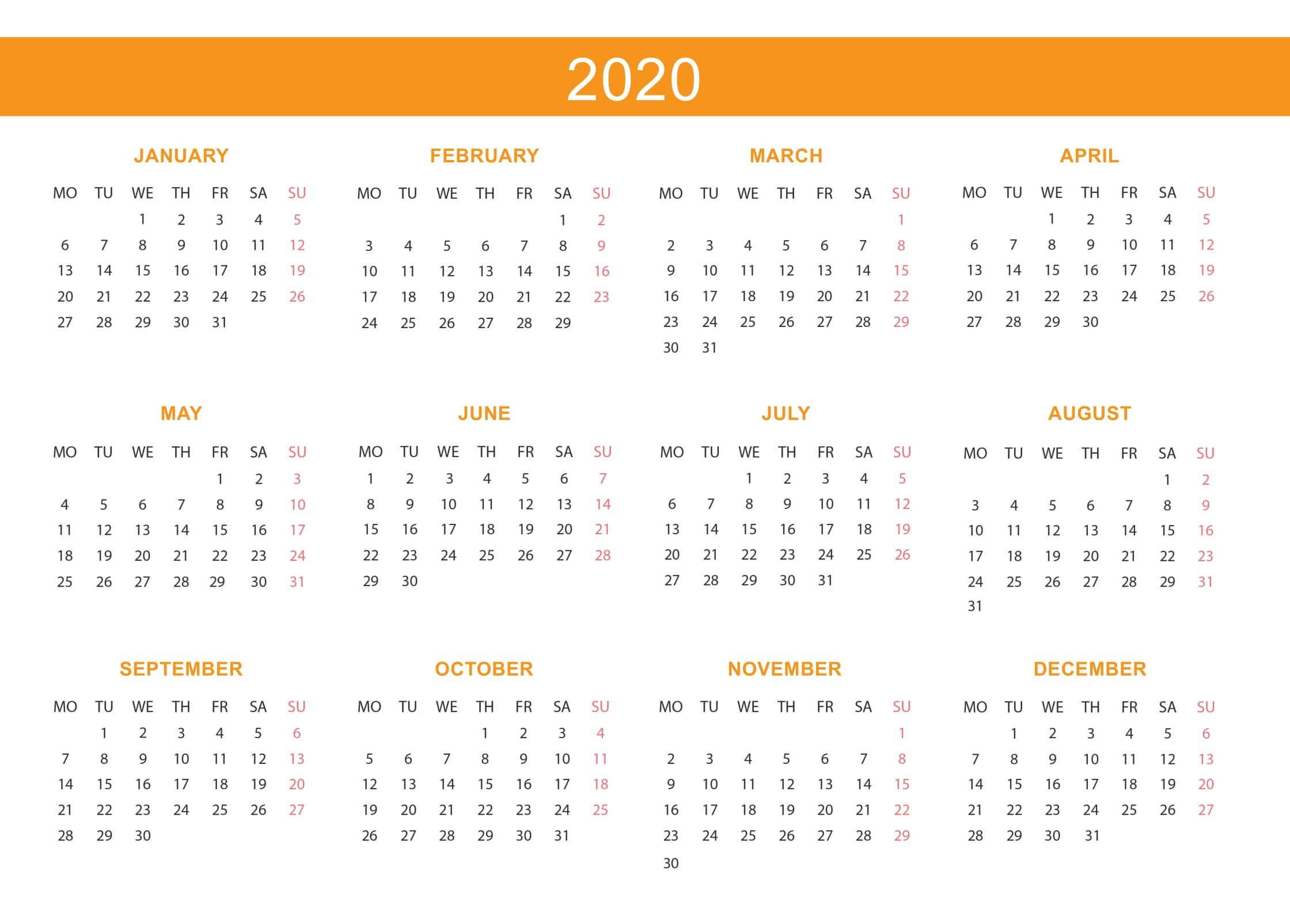 Free Yearly Calendar 2020 With Notes  2019 Calendars For with regard to School Terms 2020 South Africa