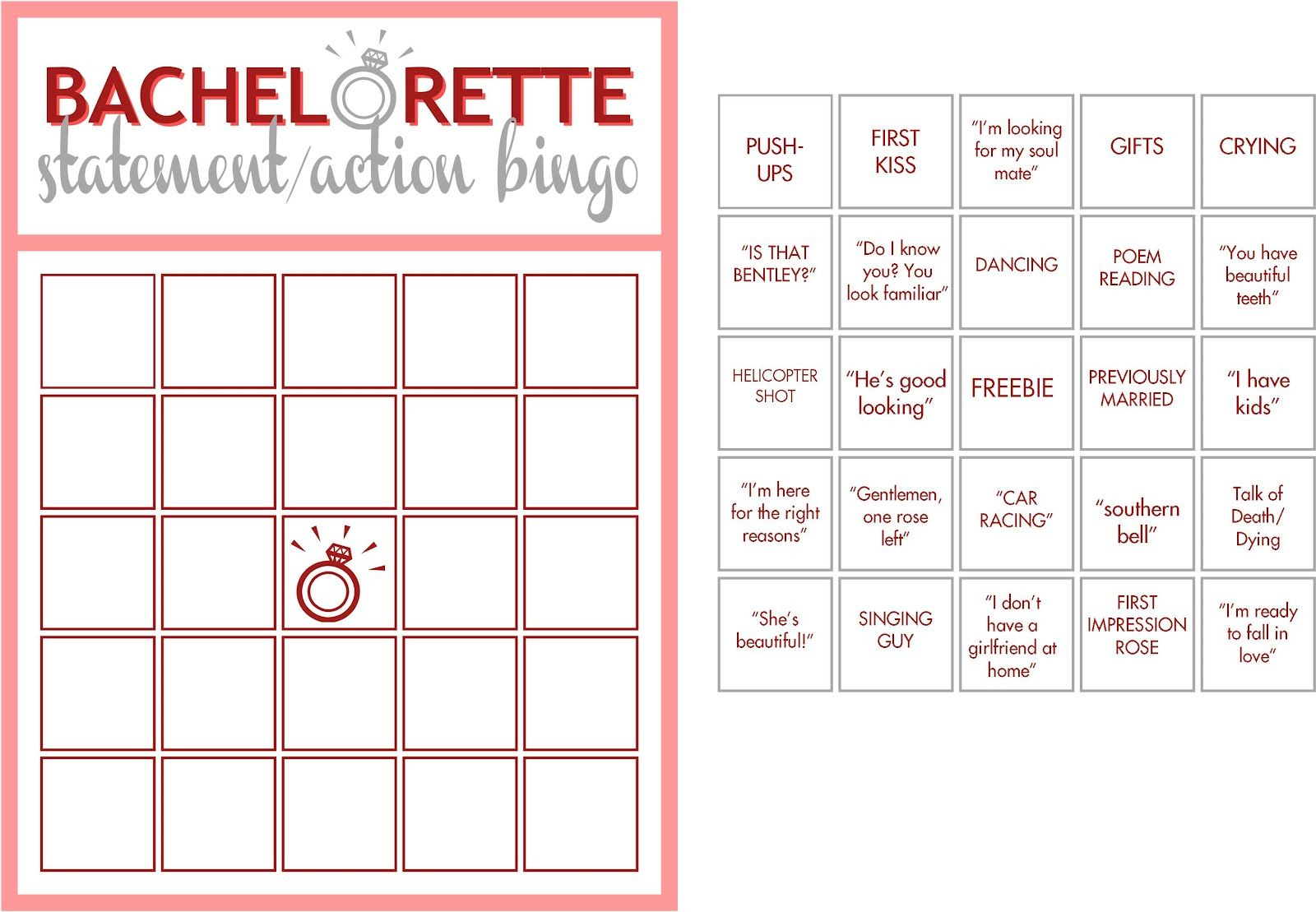 Free+Printable+Bachelorette+Bingo | Games | Bachelorette with regard to Bachelor Bracket Printable