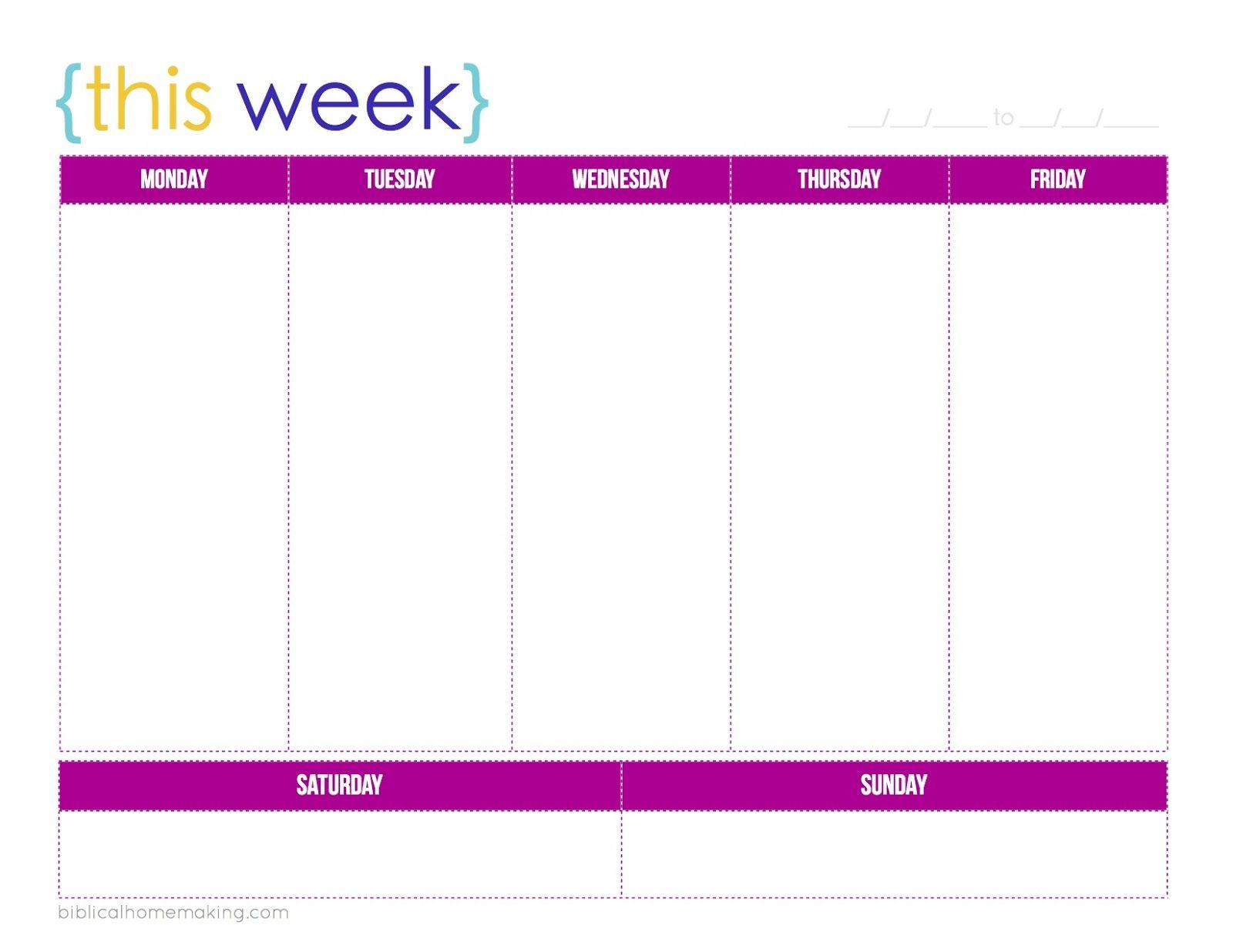 Free+Printable+Weekly+Planner+Calendars | Weekly Planner inside One Week Calendar With Time Slots