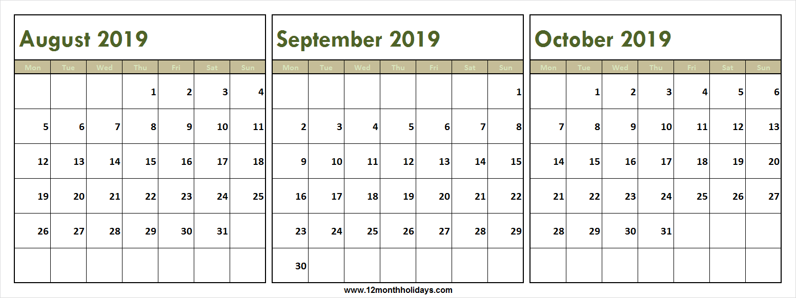 Fresh Three Month Calendar August September October 2019 intended for Three Month Calendar Template