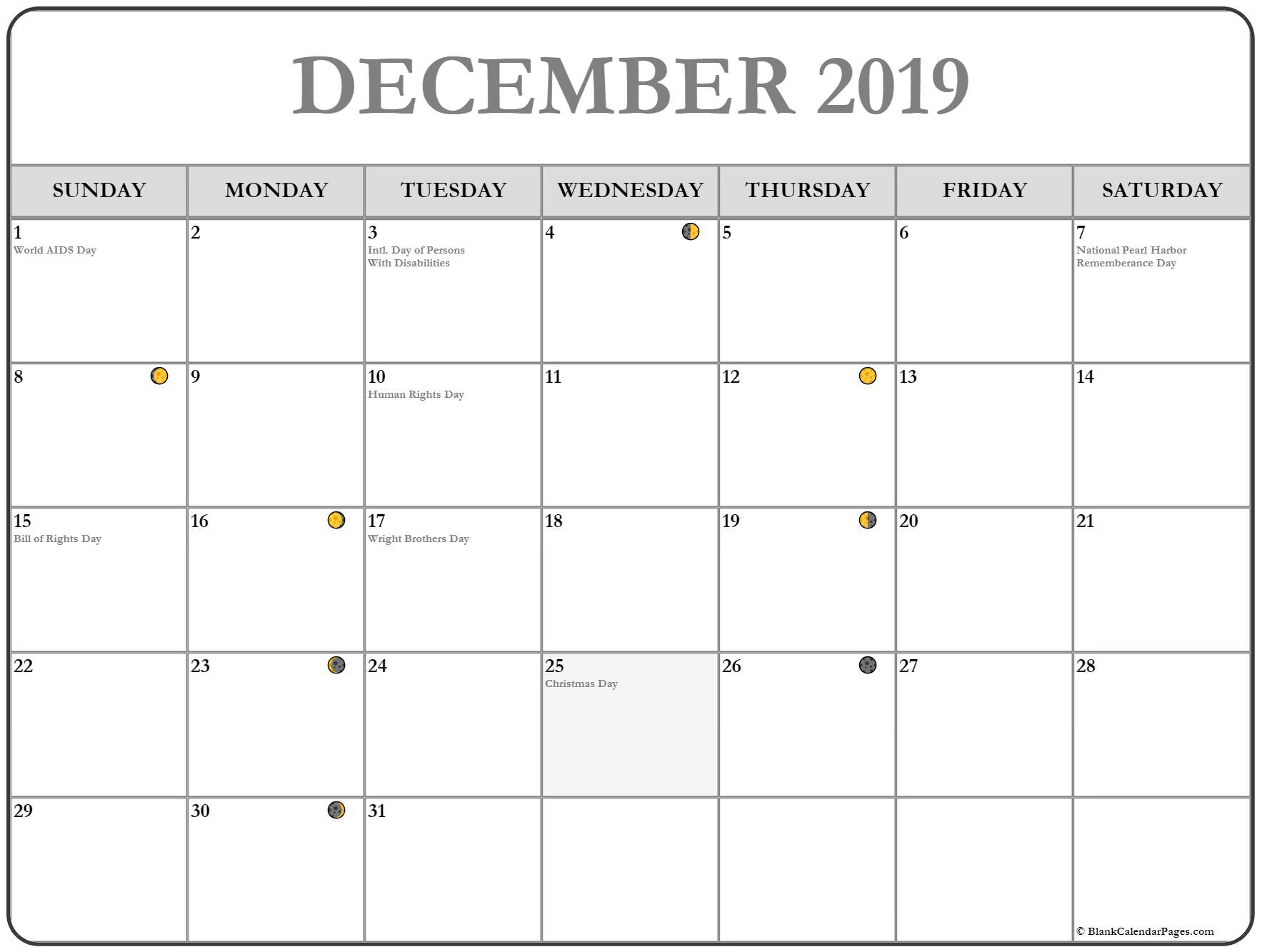 Full Moon Phases For December 2019 Month With Lunar Calendar in Lunar Calendar October 2020