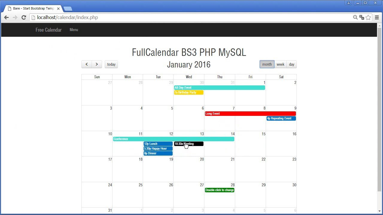 Fullcalendar 2 Phpmysql within Php Calendar Event Scheduler Code