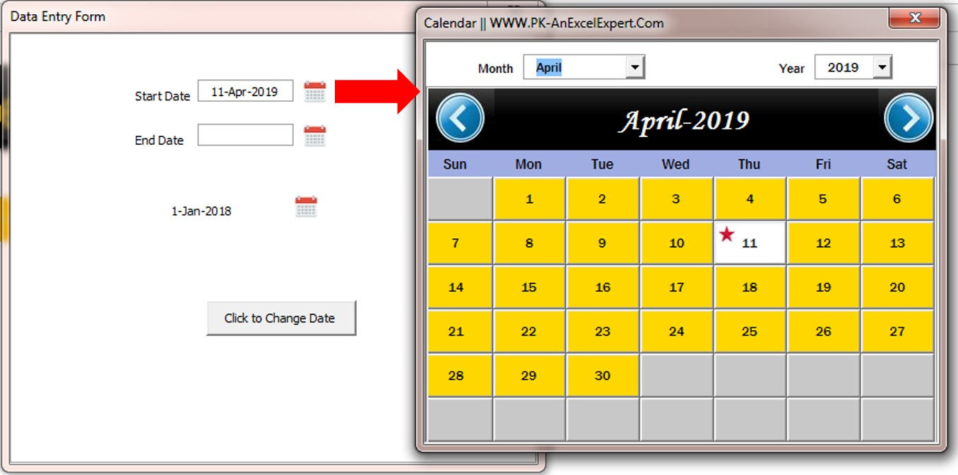 Fully Functional Dynamic Calendar Control In Vba  Pk: An with regard to Excel Vba Calendar