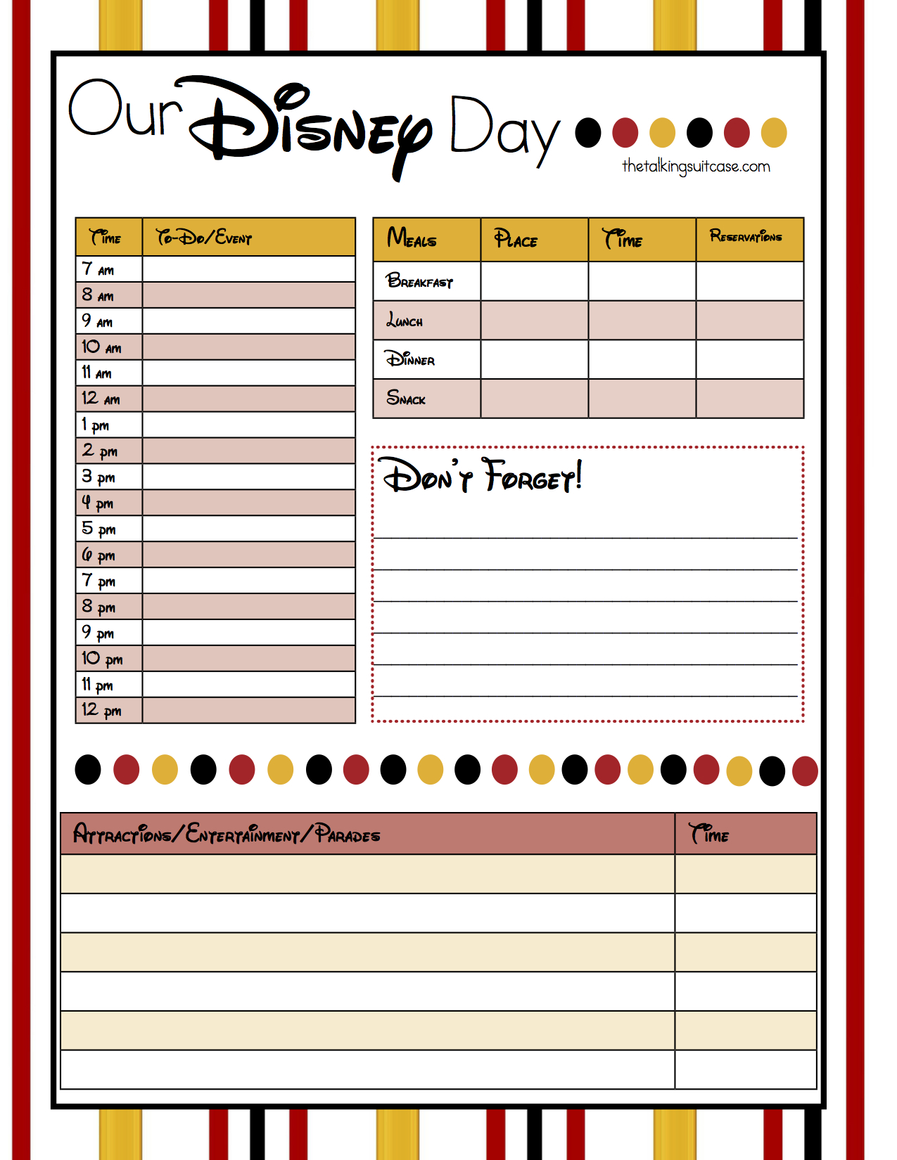 Get Ready For Your Disney Vacation  Free Printable Disney with Disney Vacation Planner Template