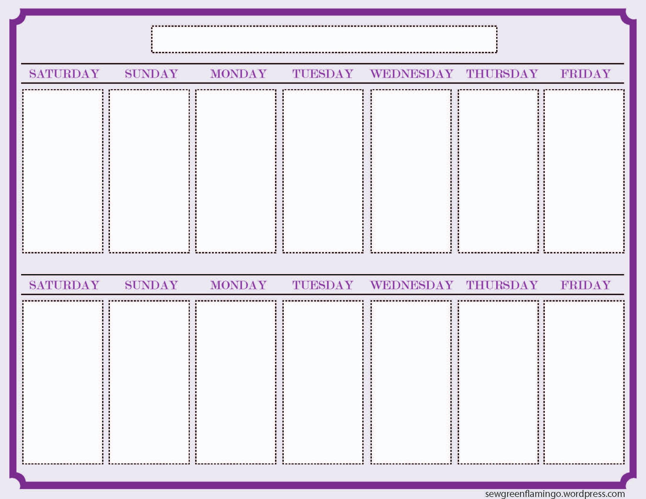 Getting Organized! 2Week Planner | Blank Calendar Template for Two Weeks Calendar