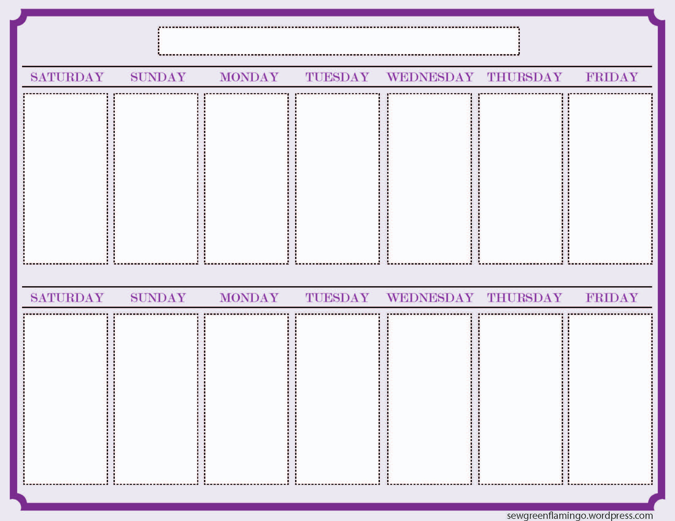Getting Organized! 2Week Planner | Blank Calendar Template pertaining to Two Week Printable Calendar