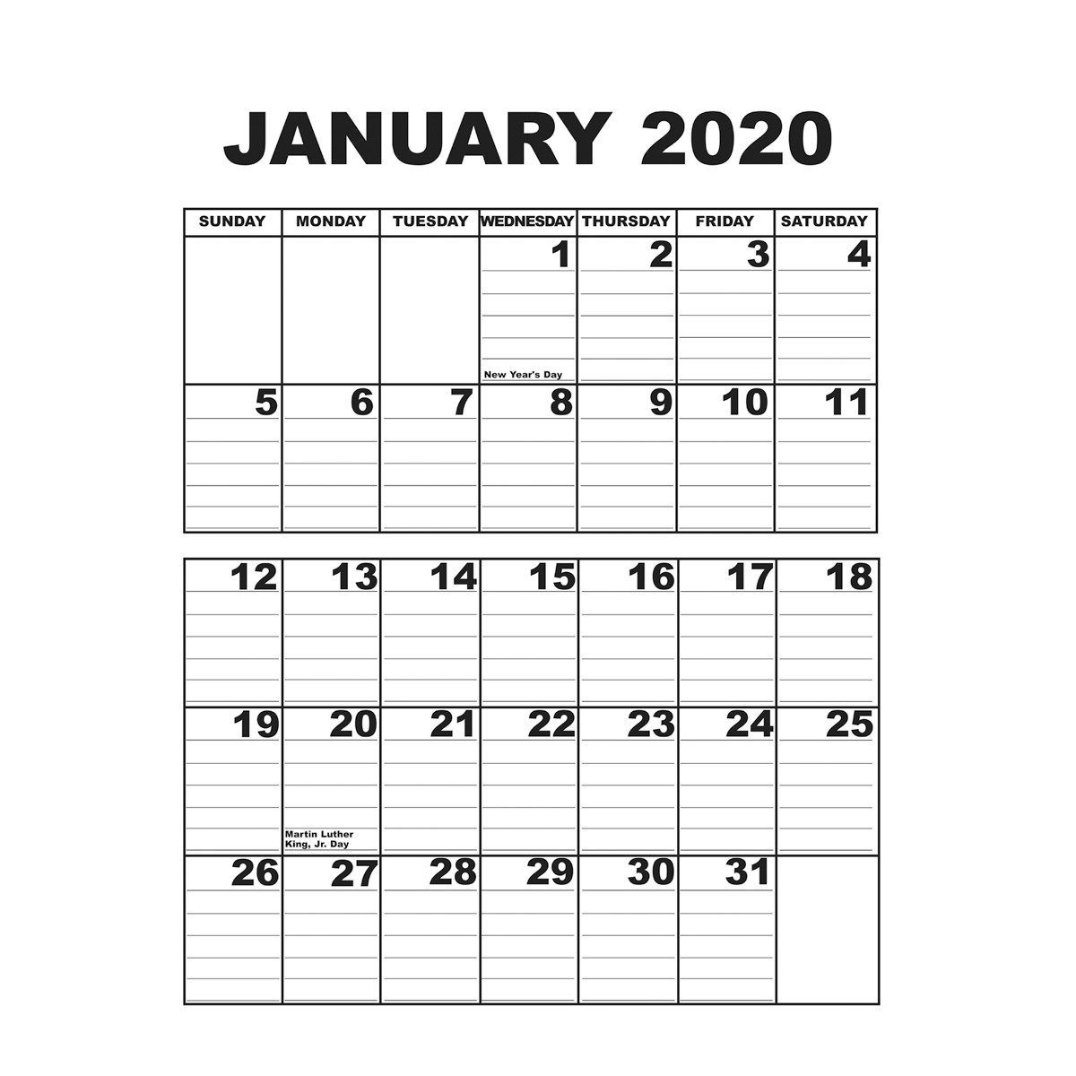 Giant Appointment Calendar 2020 with Keyboard Calendar Strips 2020