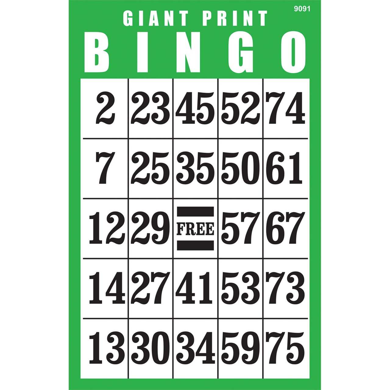 Giant Print Bingo Card Green inside Free Printable Large Print Calendars For The Visually Impaired