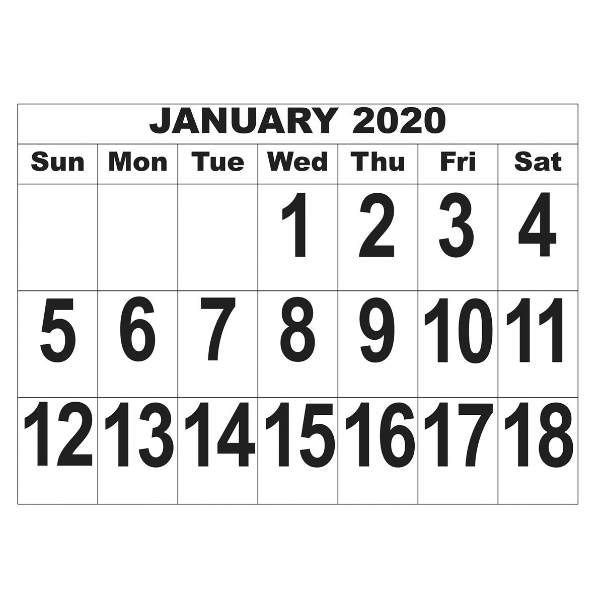 Giant Print Date Calendar  2020 with regard to Keyboard Calendar Strips 2020