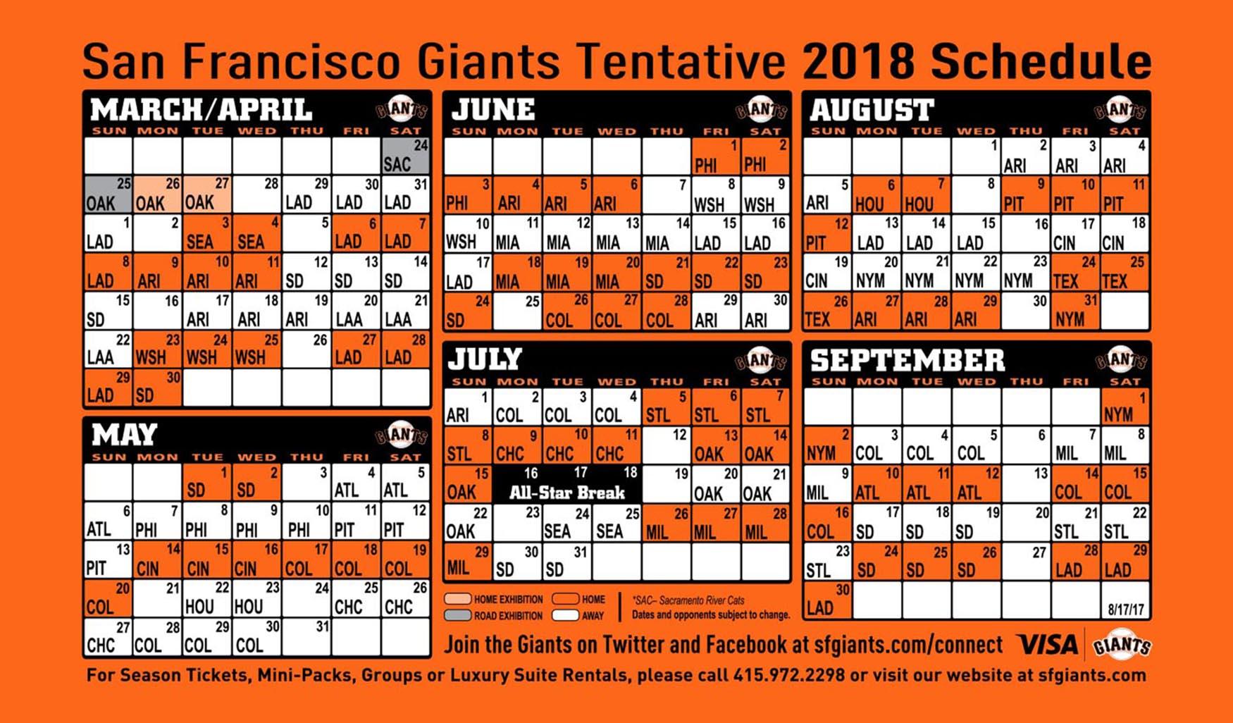 Giants Printable Schedule | San Francisco Giants pertaining to Atlanta Braves Schedule 2020 Printable