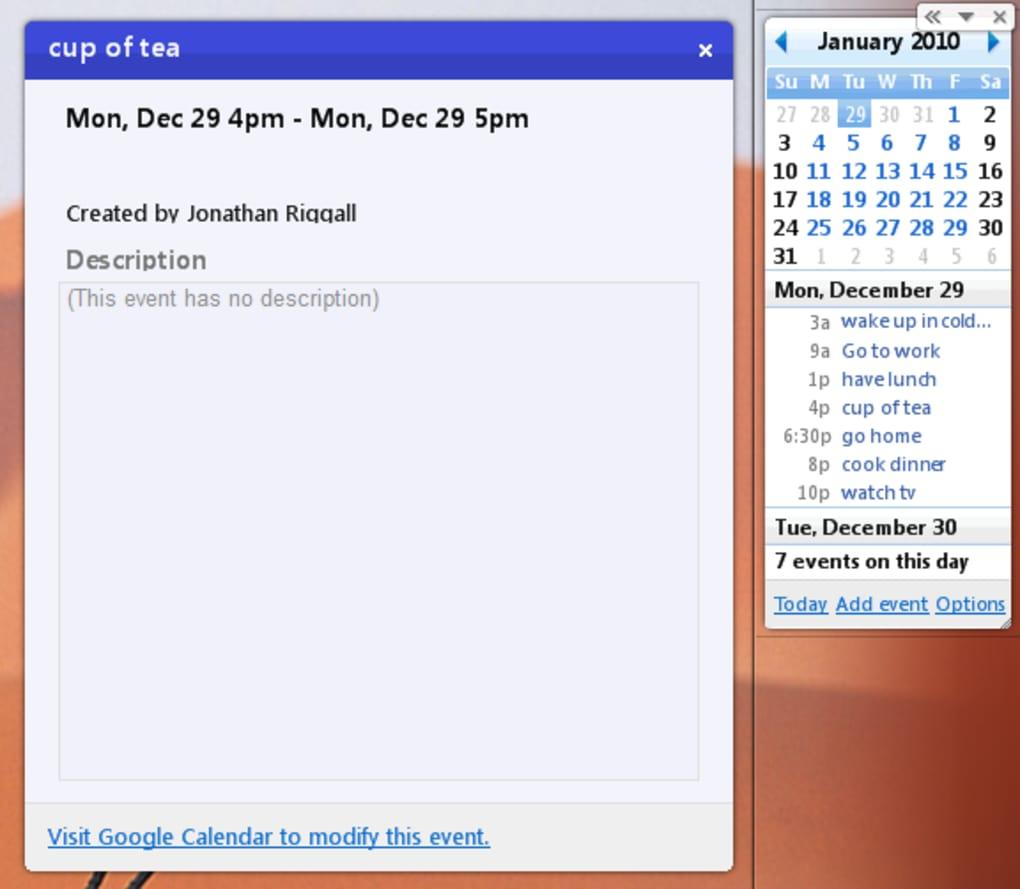 Google Calendar — Скачать inside Calendar Gadget For Windows 10