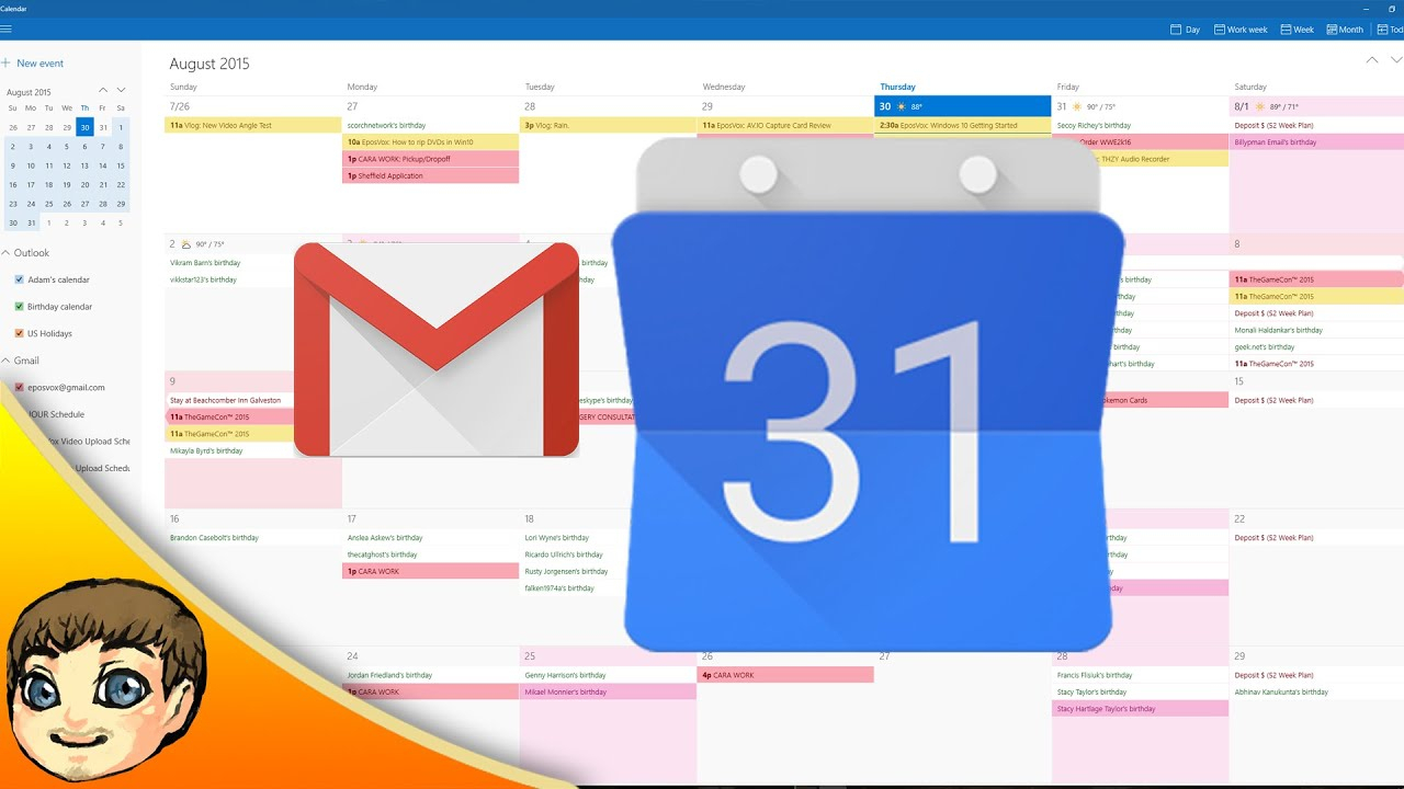 Google Calendar & Gmail Integration W Windows 10 | Windows 10 Tips in How To Make Google Calendar Desktop Background