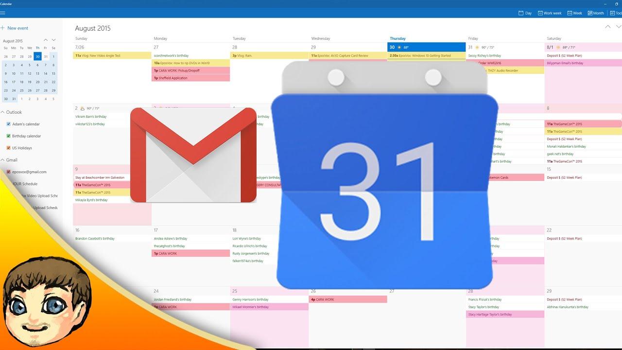 Google Calendar & Gmail Integration W Windows 10 | Windows 10 Tips regarding Calendar Gadget For Windows 10