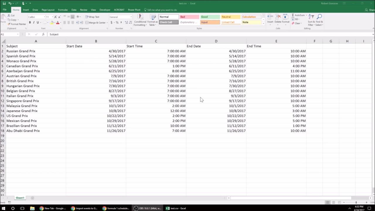 Google Csv To Excel inside Export Google Calendar Excel