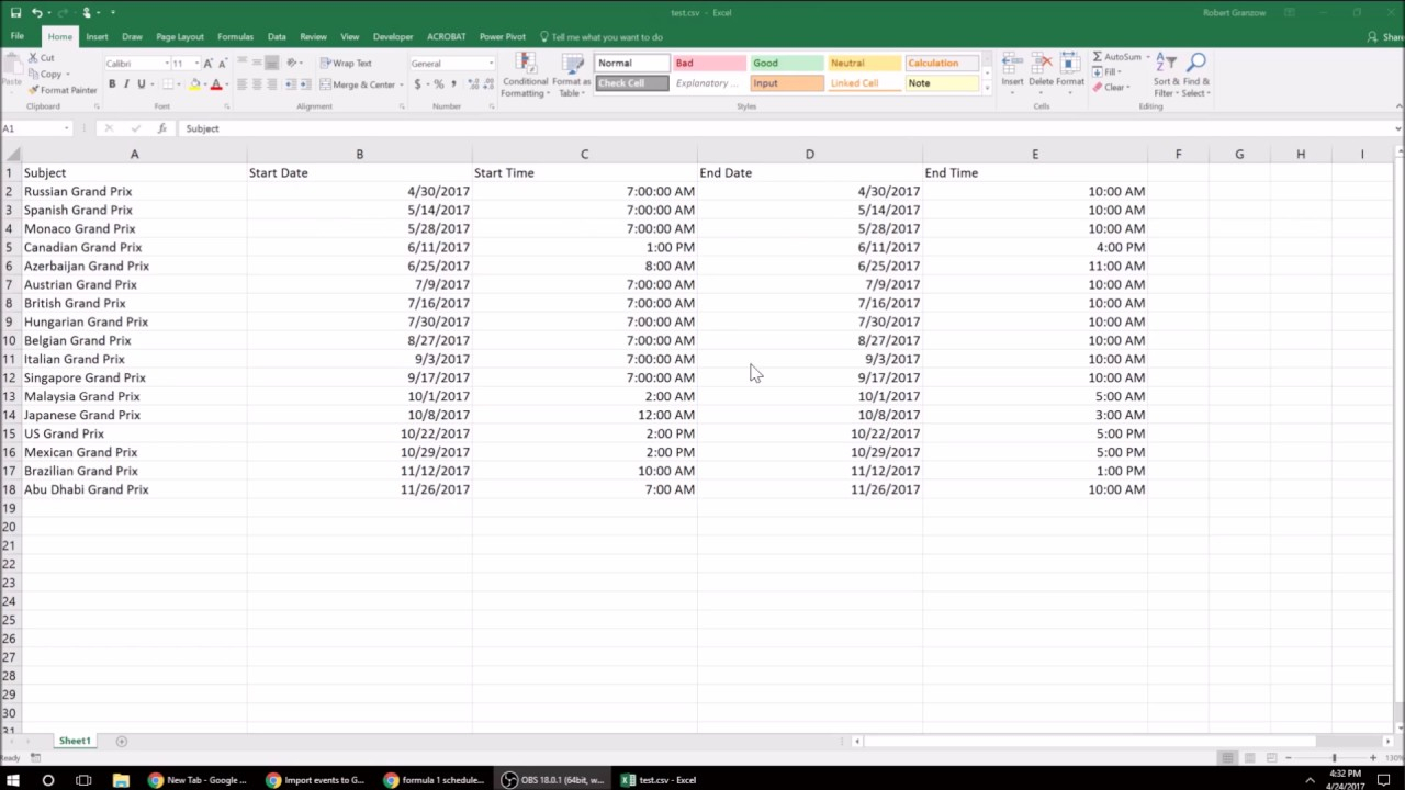 Google Csv To Excel regarding Google Calendar To Excel