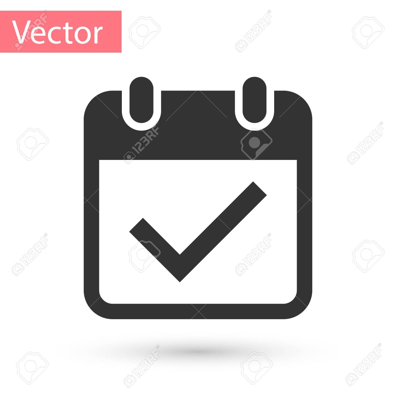Grey Calendar With Check Mark Icon Isolated On White Background pertaining to Calendar Icon Grey
