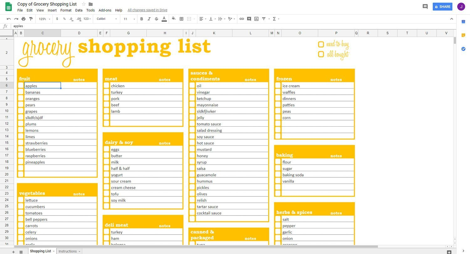 Grocery List Template Shopping Google Sheets Ndash Savvy throughout Editable Grocery List Template