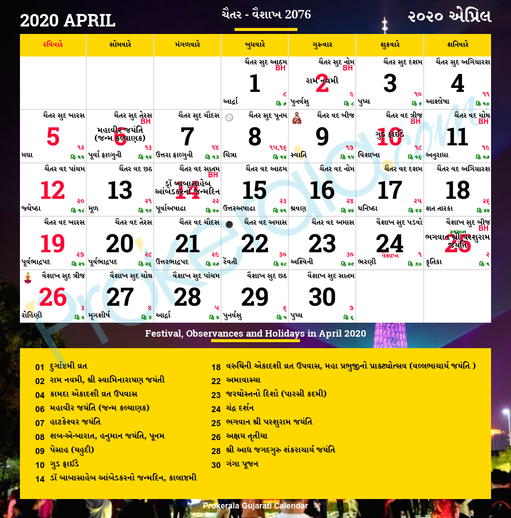 Gujarati Calendar April, 2020 | Vikram Samvat 2076, Chaitra for Gujarati Month Calendar 2020