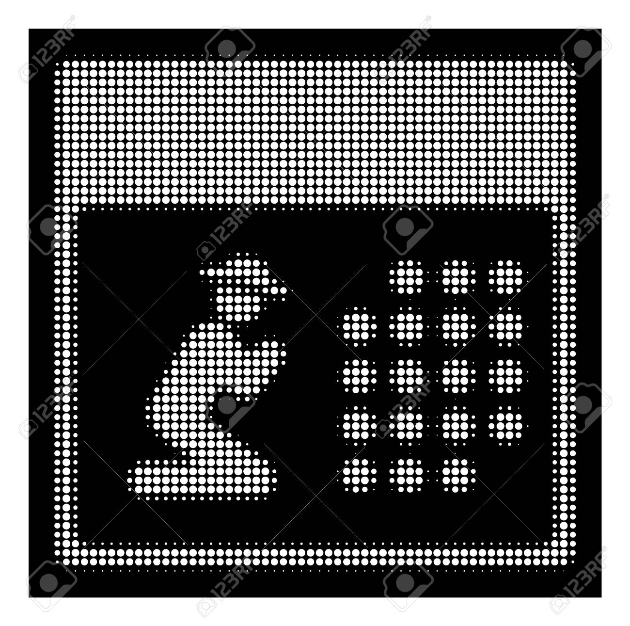 Halftone Dotted Pray Calendar Icon. White Pictogram With Dotted.. inside Calendar Icon White